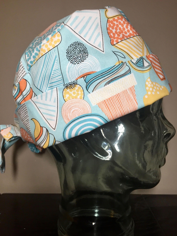 cfd10422b343e Aqua   Orange Ice Cream Cones Surgical Scrub Hat