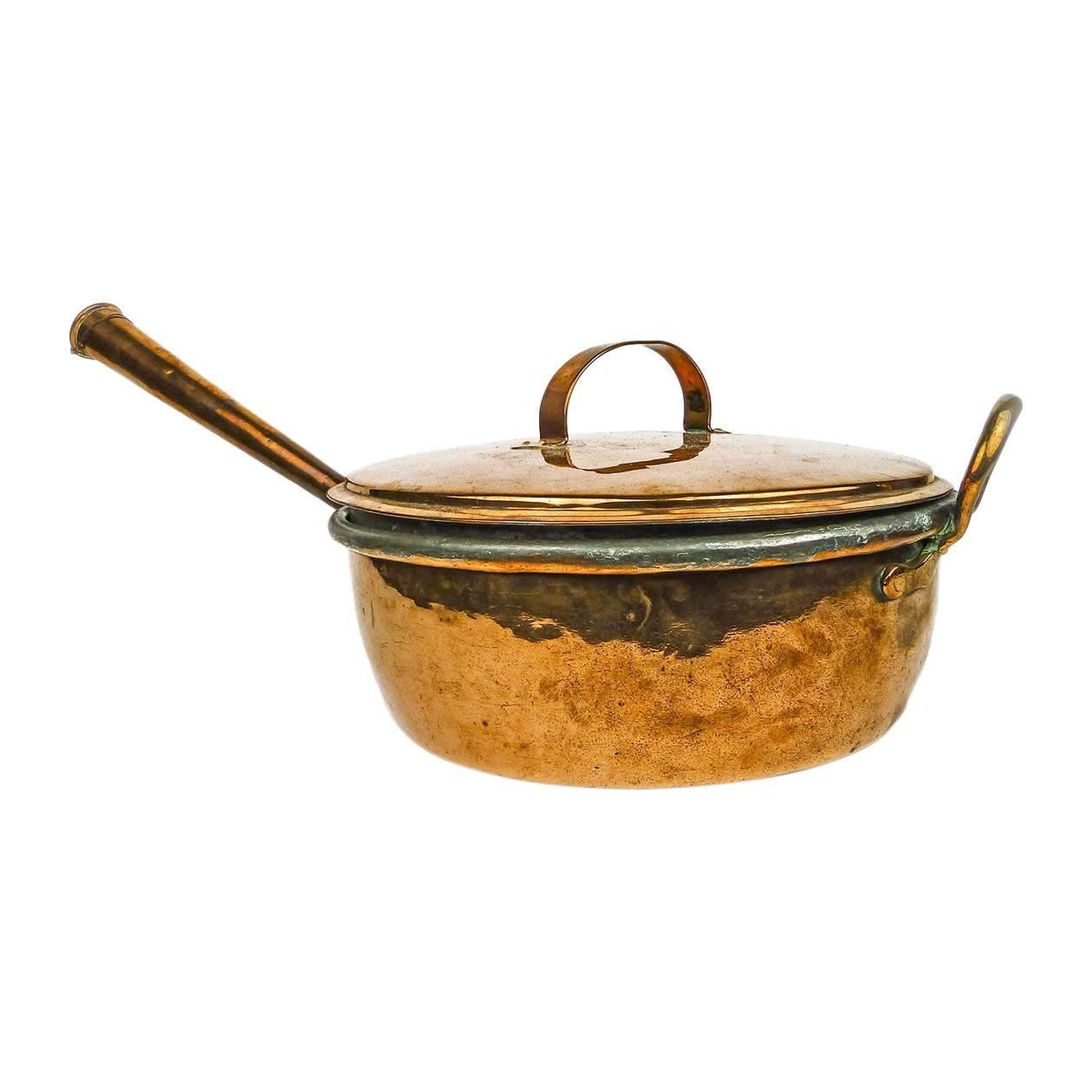 Large English Copper Cooking Pot with Matching Lid, circa 1860 | From a unique collection of antique and modern fireplace tools and chimney pots at https://www.1stdibs.com/furniture/building-garden/fireplace-tools-chimney-pots/