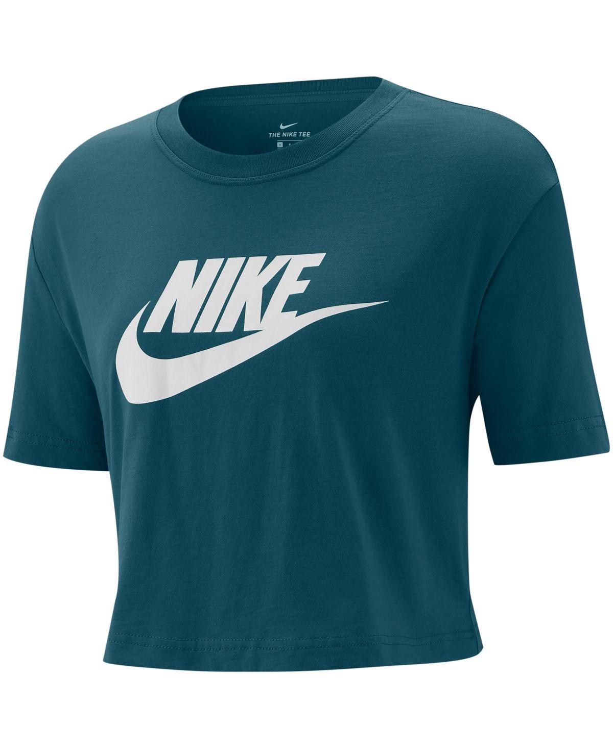 Nike Women S Sportswear Cotton Logo Cropped T Shirt Reviews Tops Women Macy S Women Clothes Sale Sportswear Women Nike T Shirts Women S [ 1467 x 1200 Pixel ]