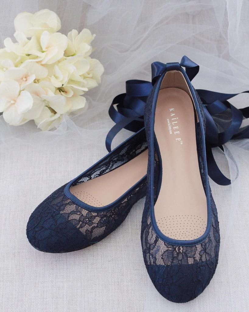 NAVY LACE round toe BALLERINA Lace up