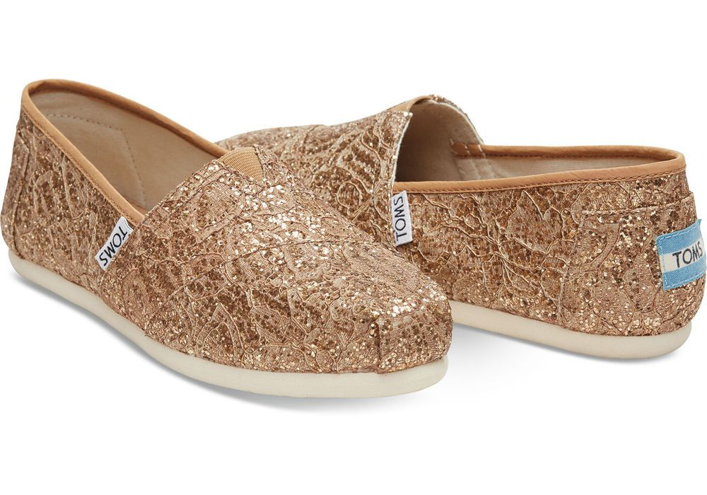 TOMS ROSE GOLD CROCHET GLITTER WOMEN'S CLASSICS SHOES. STYLE # 10006149