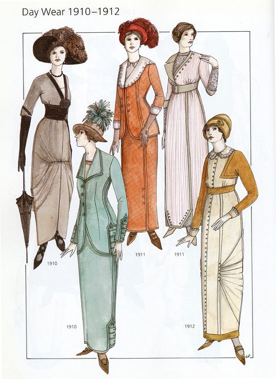 Day Wear Fashion 1910-1912 from 20th Century Fashion by John Peacock ...