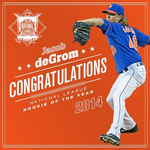 Google+   Mets fans, Jacob deGrom is your 2014 National League Rookie of the Year!