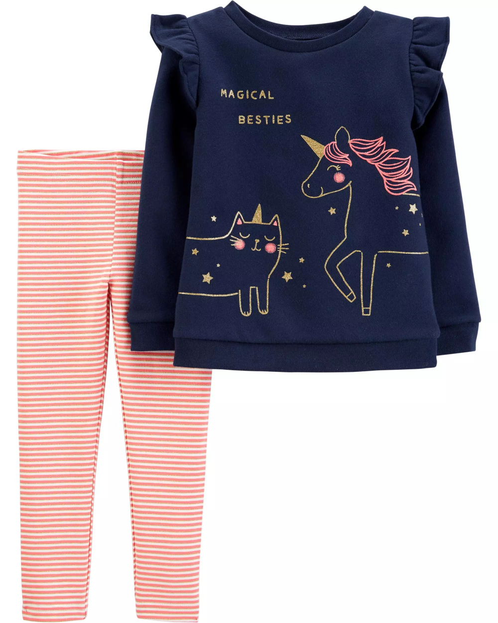 2-Piece Unicorn Fleece Top & Striped Legging Set #stripedleggings
