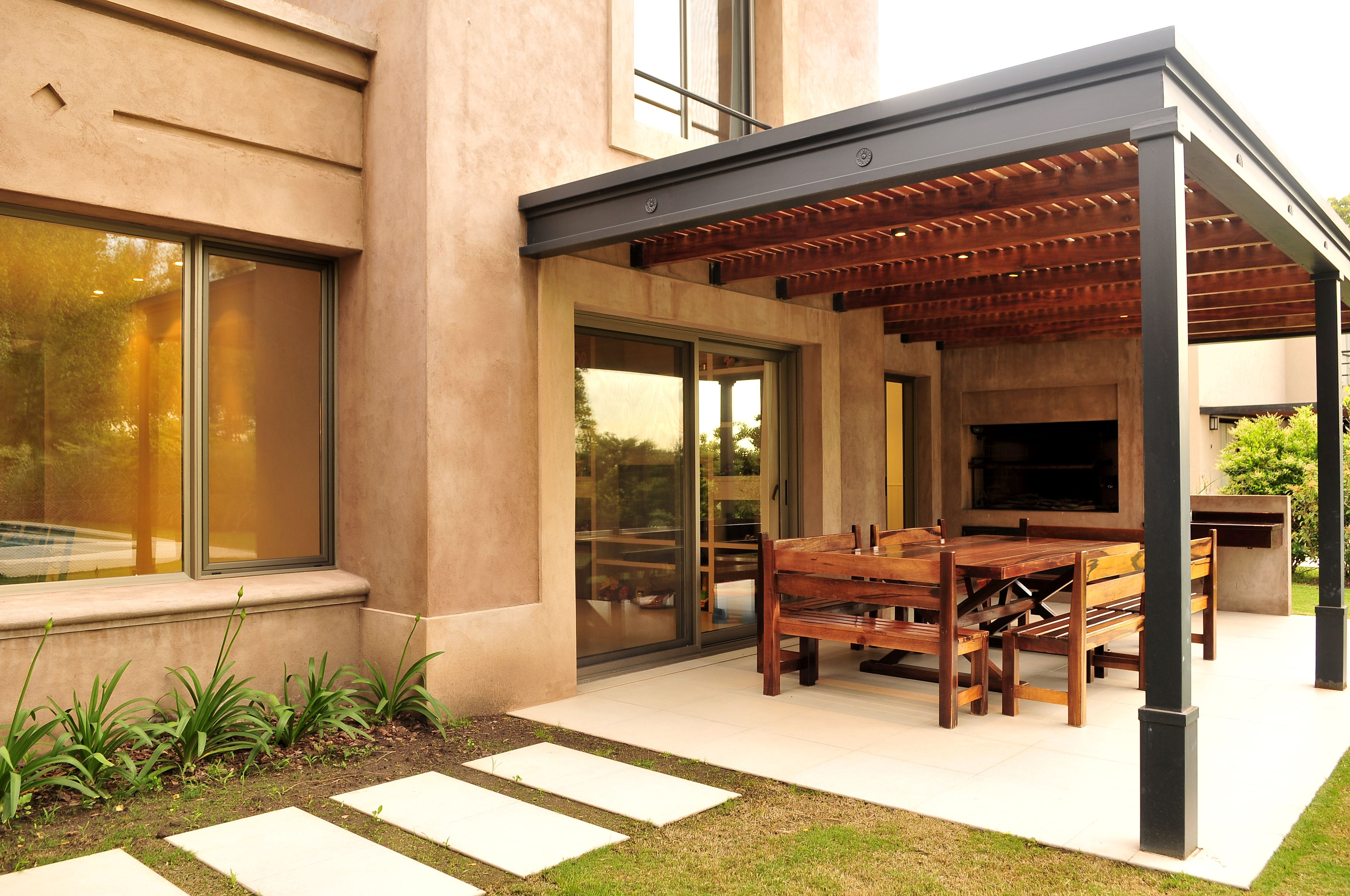 Outdoor garage decorations  Galeria caro pereyra  casa campo  Pinterest  Pergolas Patios and