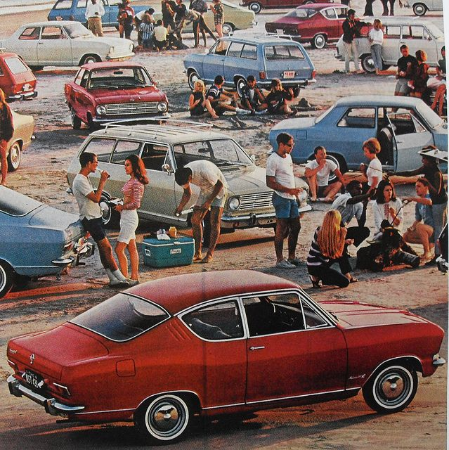 1960s Automotive Beach Cars Party Outdoors Campfire