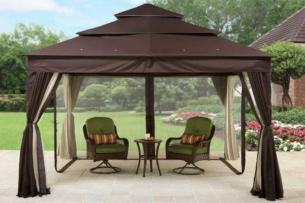 Bhg Archer Ridge 10x12 Ft Brown Gazebo Canopy Outside Gazebo Gazebo Canopy Gazebo