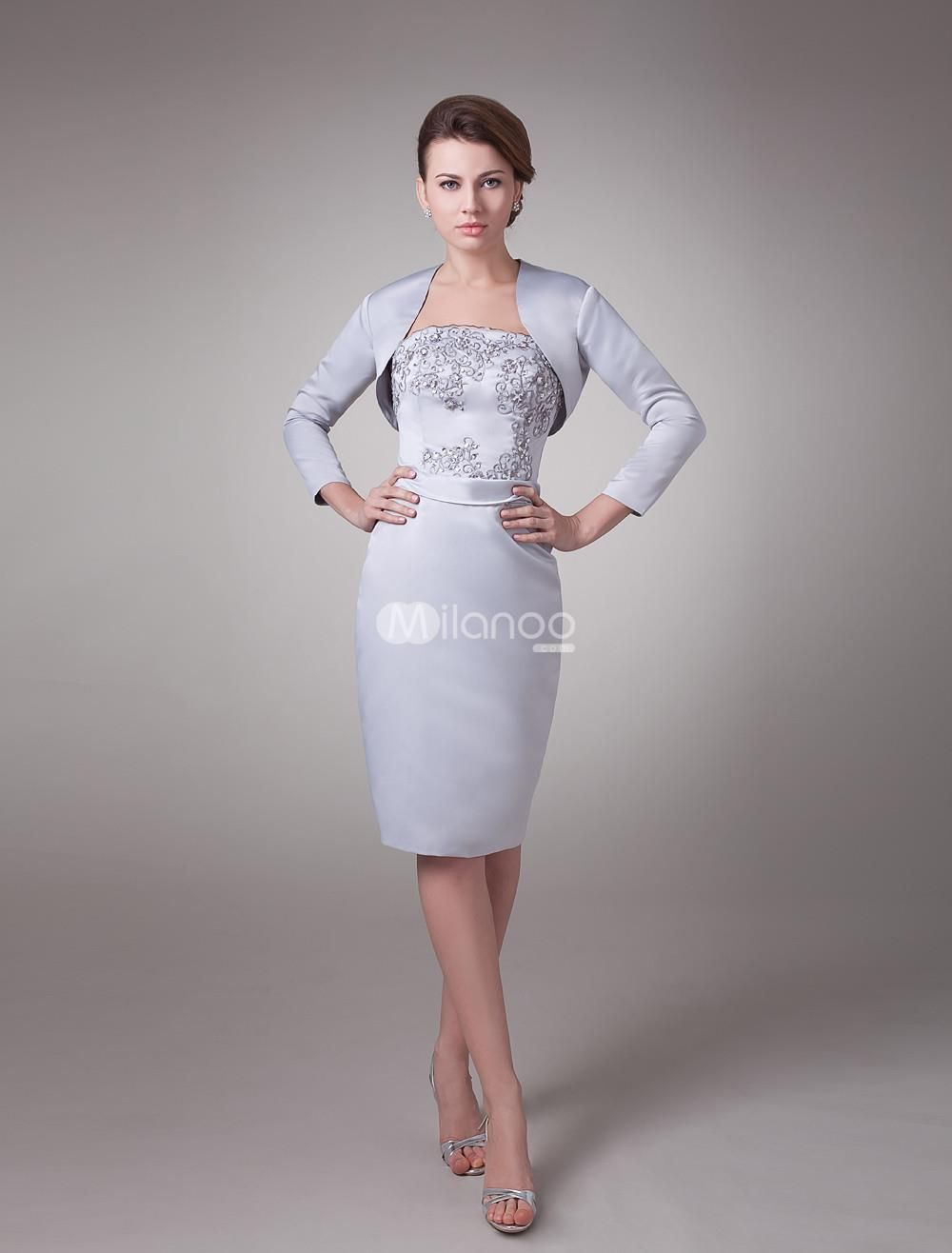 Two-Piece Beaded Silver Satin Mother Of Bride And Groom Dress. This kind of silver dress features its beaded bodice,and long sleeves overcoat  is included.This dress is available in other colors showed on the color card,and available from size 2 to size 28.Please select the color,and .. . See More Mother of the Bride Dresses at http://www.ourgreatshop.com/Mother-of-the-Bride-Dresses-C928.aspx