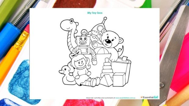 My Toy Box Colouring Page With Images Toy Boxes Coloring