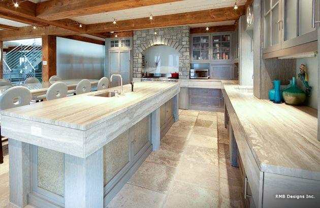 ocean beige granite countertops | Ocean Blue Vein Cut Travertine ...