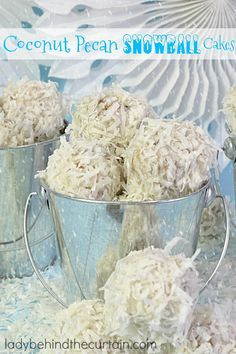 Coconut Pecan Snowball Cakes | Have lots of fun at your Christmas party and create the ultimate snowball fight!