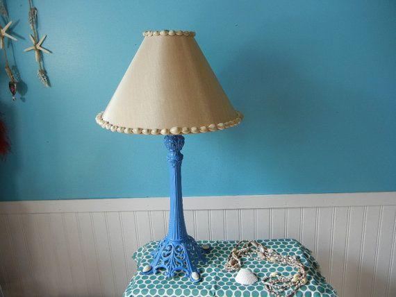 Beachy Periwinkle Blue Metal Lamp with Tan by PeriwinklePelican, $85.00