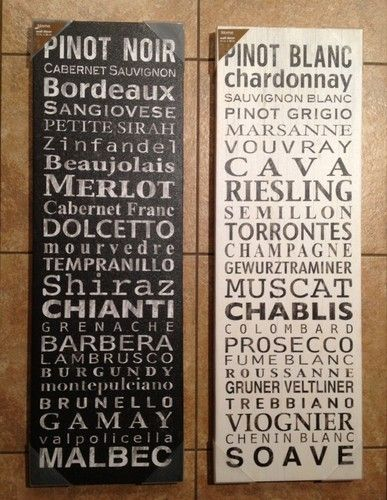 2 red & white wine types lists wall decor canvas art ...