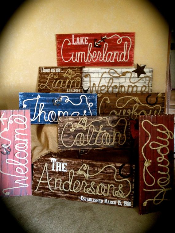Fully Customized Rope Name Signs Western Theme Beach