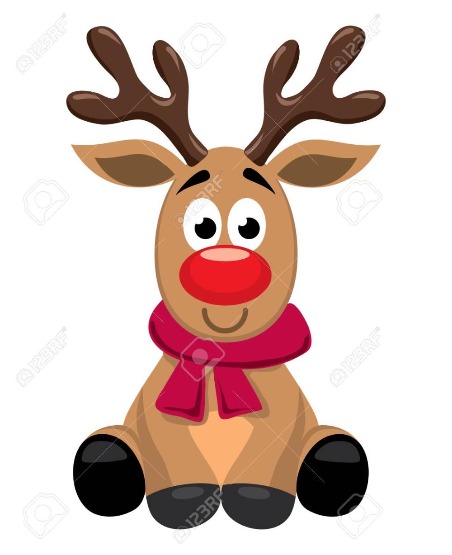 Vector Cute Cartoon Of Red Nosed Reindeer Toy Rudolph Funny Reindeer Drawing Xmas Drawing Cartoon Reindeer