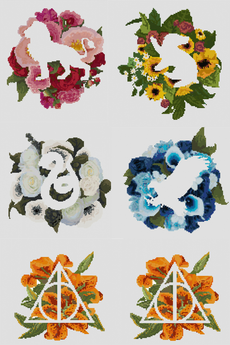 Floral Hogwarts Houses & deathly Hallows Symbols <3