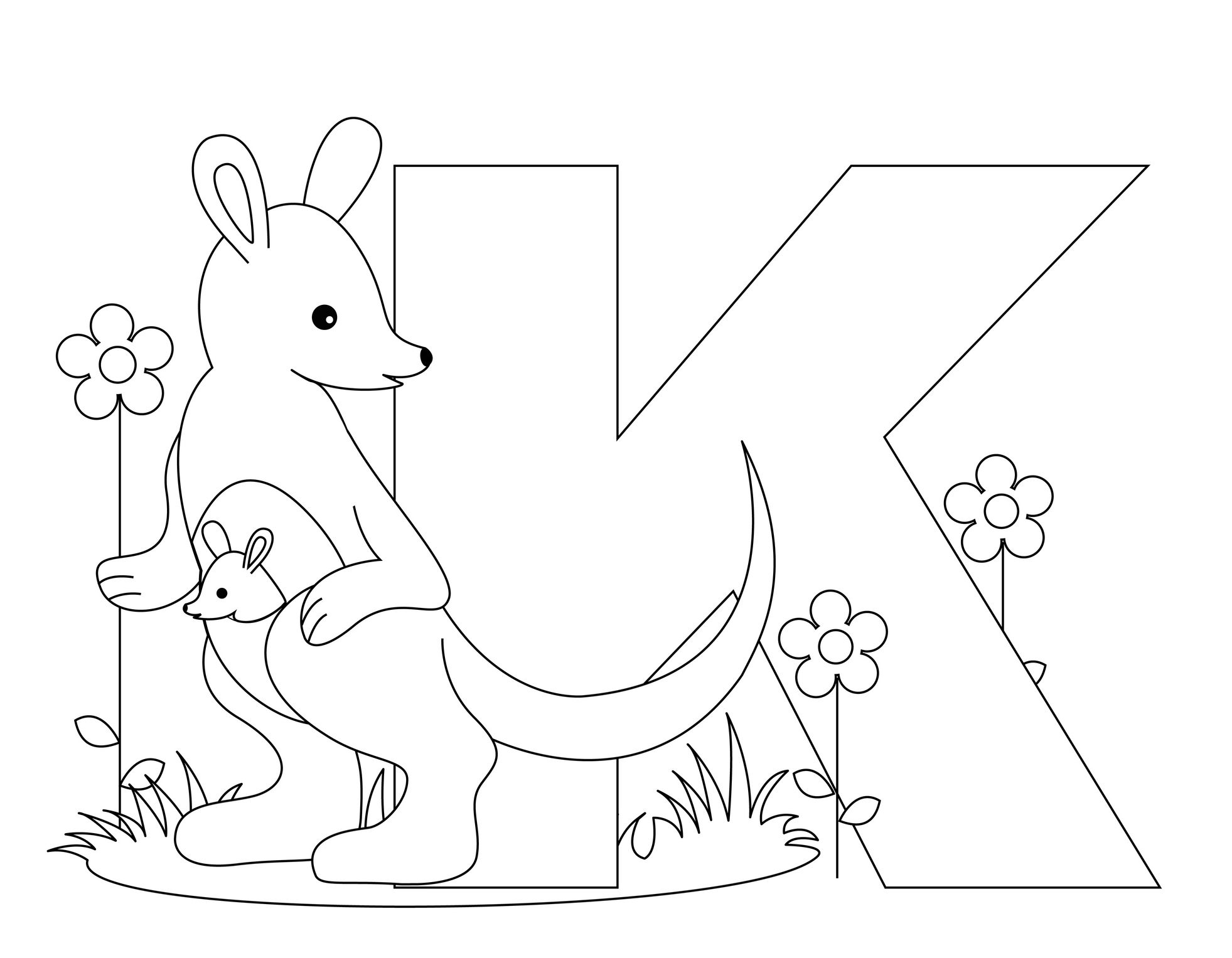 Animal Alphabet Letter K For Kangaroo Kindergarten Coloring Pages Abc Coloring Pages Letter A Coloring Pages