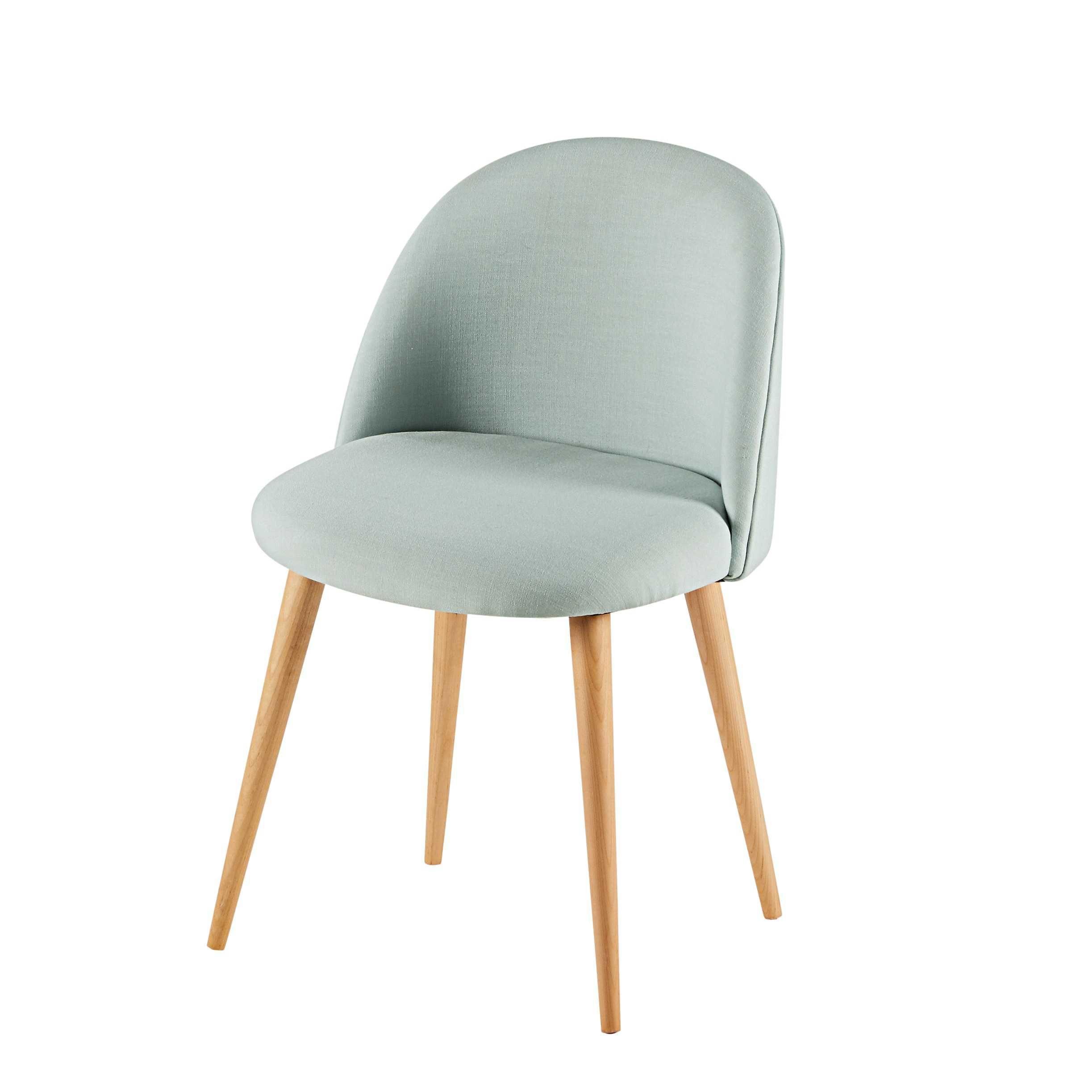 chaise en tissu vert d 39 eau et bouleau massif mauricette. Black Bedroom Furniture Sets. Home Design Ideas
