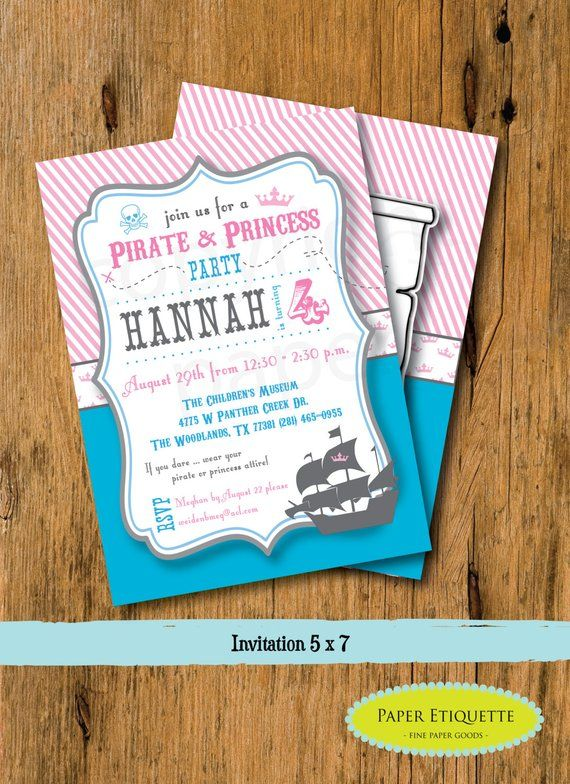 Pink Princess Pirates Royal Birthday Party Invitation