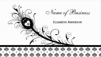 Elegant black and white damask peacock feather business cards http girly damask business cards page 1 reheart Gallery