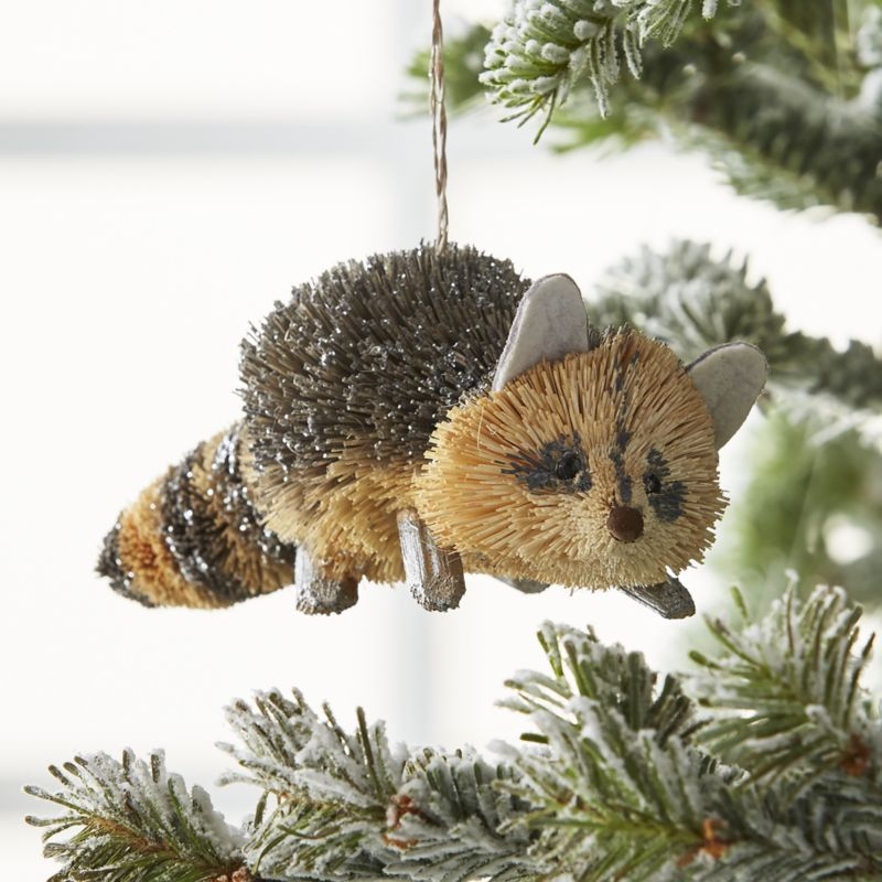 Silver Buri Raccoon Ornament Reviews Crate And Barrel With Images Animal Ornament Woodland Christmas Christmas Tree Ornaments