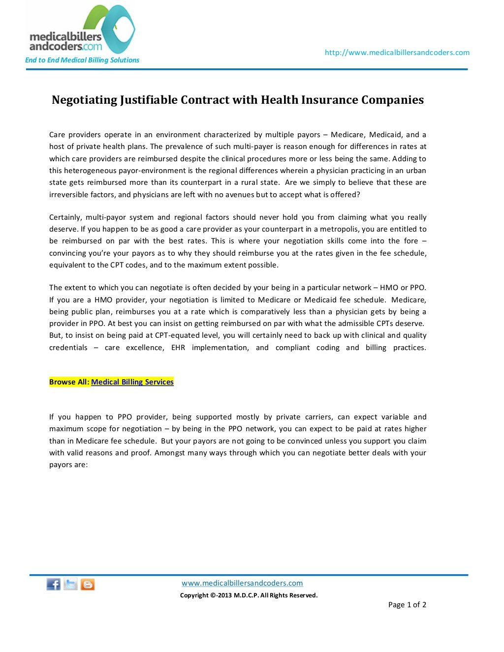 Negotiating Justifiablecontractwithhealthinsurancecompanies By Medicalbillersandcoders Via Slideshare Health Insurance Companies Negotiation Health Insurance