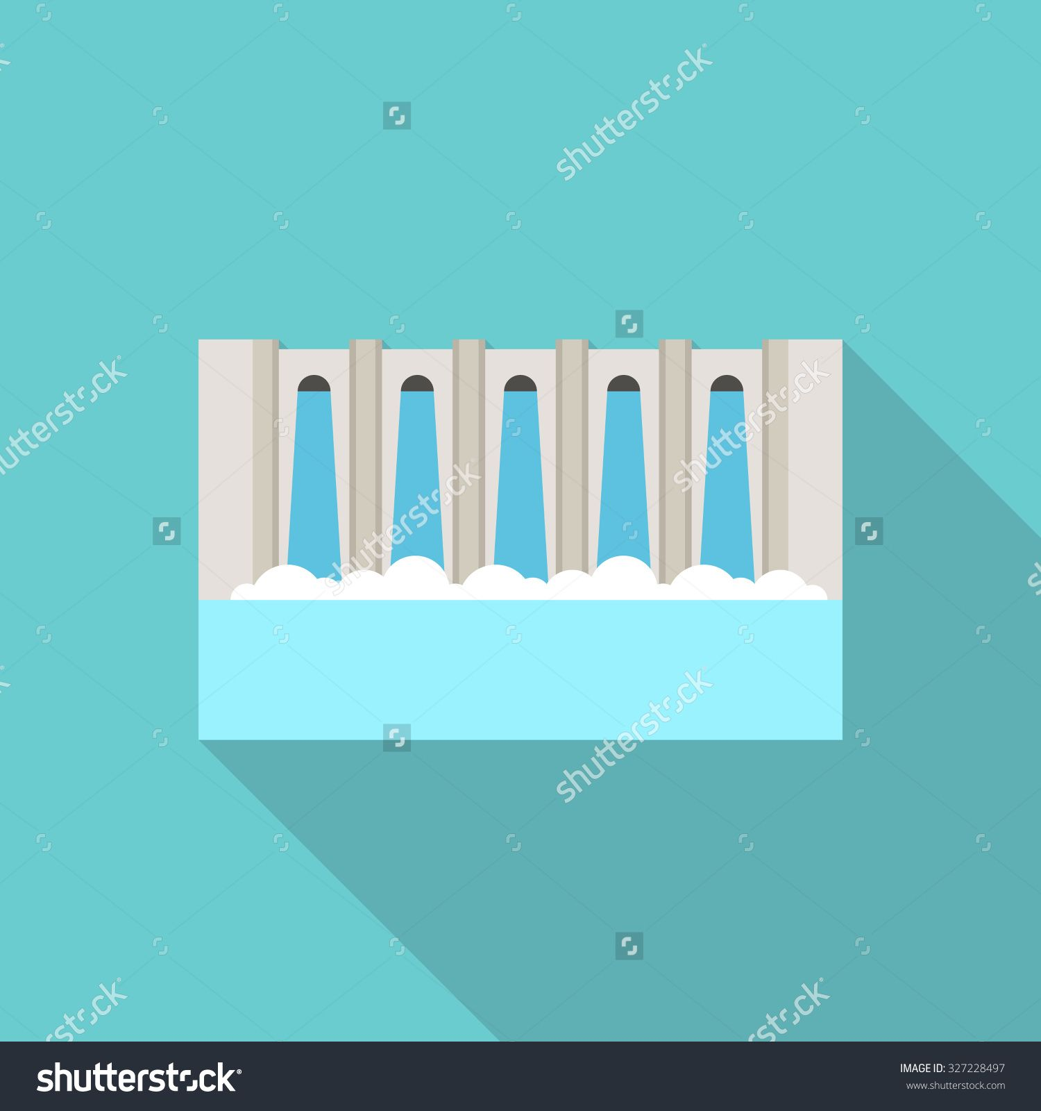 Flat Illustration Of A Hydroelectric Dam Generating Power And Electricity With…