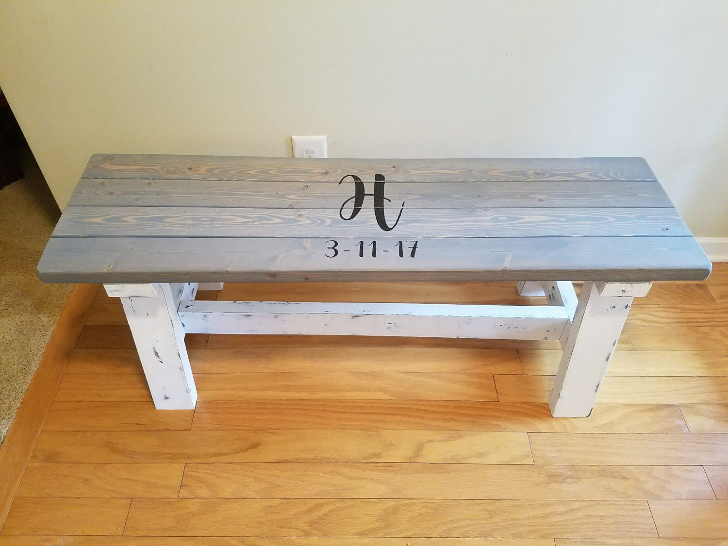 Personalized Two Tone Farmhouse Bench Wedding Guest Book By Ngfoothillsfurniture On Etsy Guest Book Bench Wedding Bench Guest Book Wedding Bench