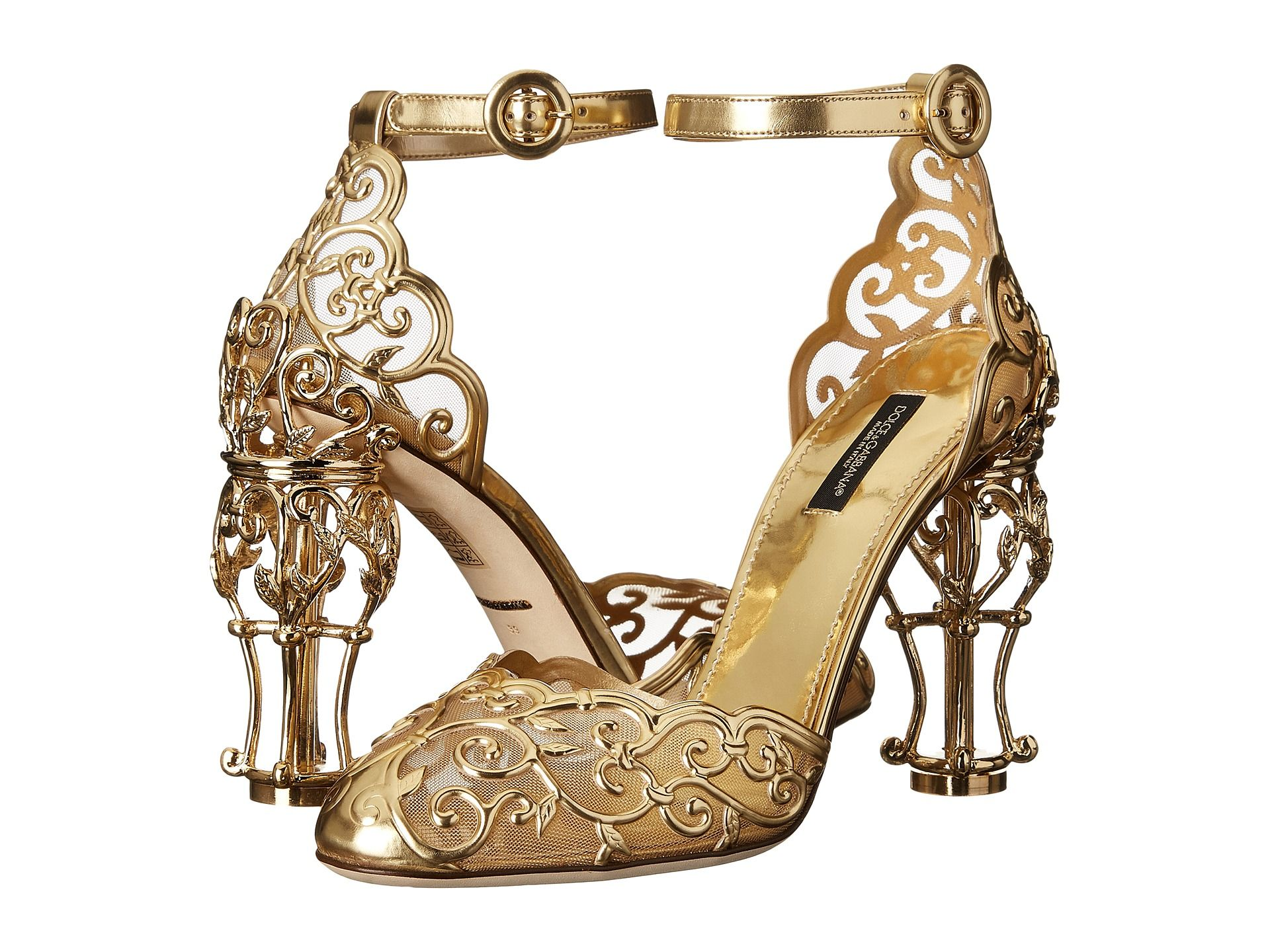 Dolce & Gabbana Laser Cut Patent Leather Mesh w Metal Heel Gold