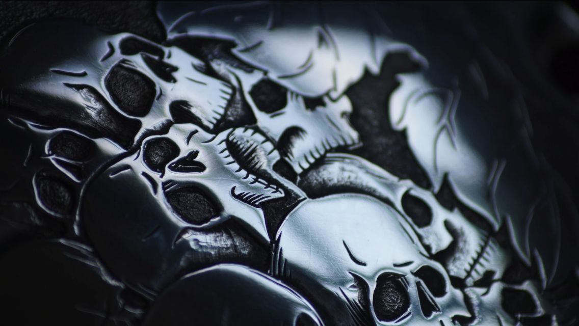 """""""Skull"""" Project For HD Sportster, Hand Engraving By Messer"""