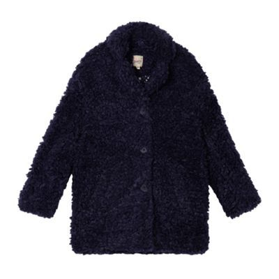 Mantaray Navy faux shearling girls' coat- | Debenhams