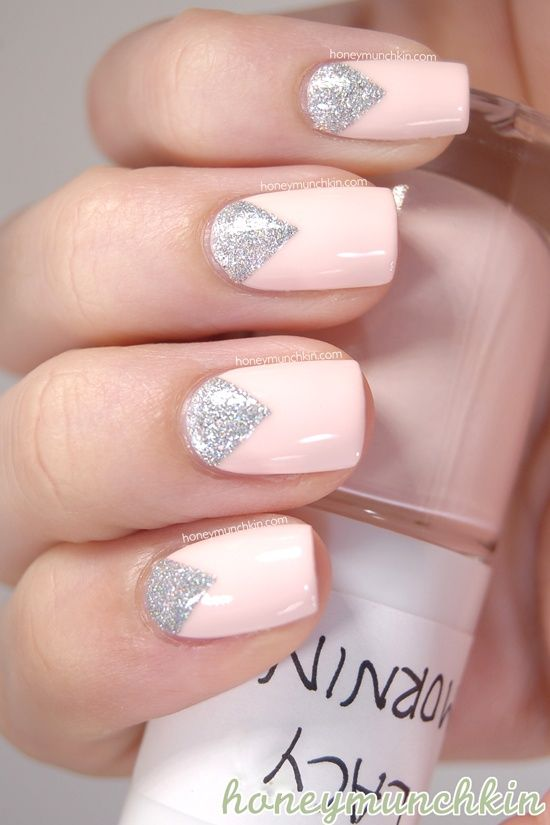 Silver triangle reverse french manicure with pale pink base