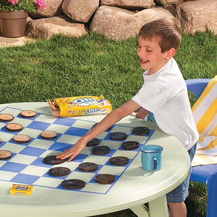 Plastic Table Turned Into A Checkerboard Table With A