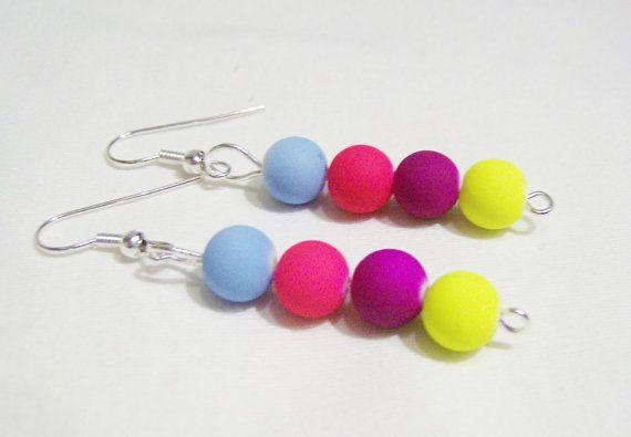 Neon retro 80's plastic dangling earrings  by SparkleandComfort