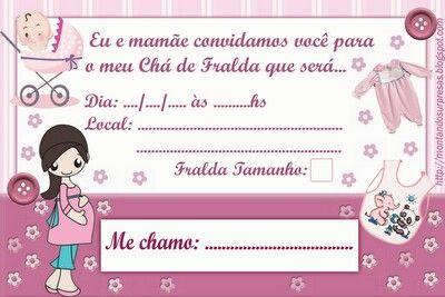 Convite Cha De Fraldasmenina Coisas Para Fazer Baby