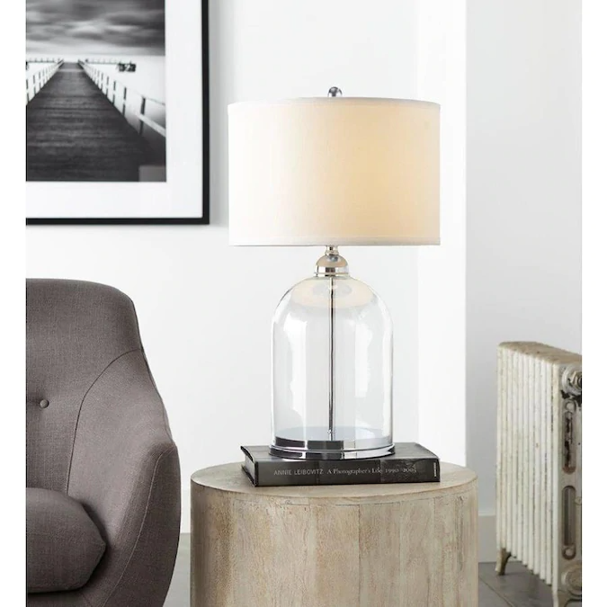 Scott Living 24 75 In Chrome Clear Glass Table Lamp With Fabric Shade Lowes Com Clear Glass Table Lamp Clear Table Lamp Glass Table Lamp