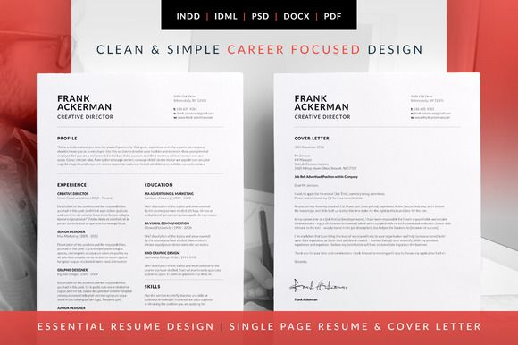 Single Page Resume Template Essential Resume  Frankbilmaw Creative On Creativemarket