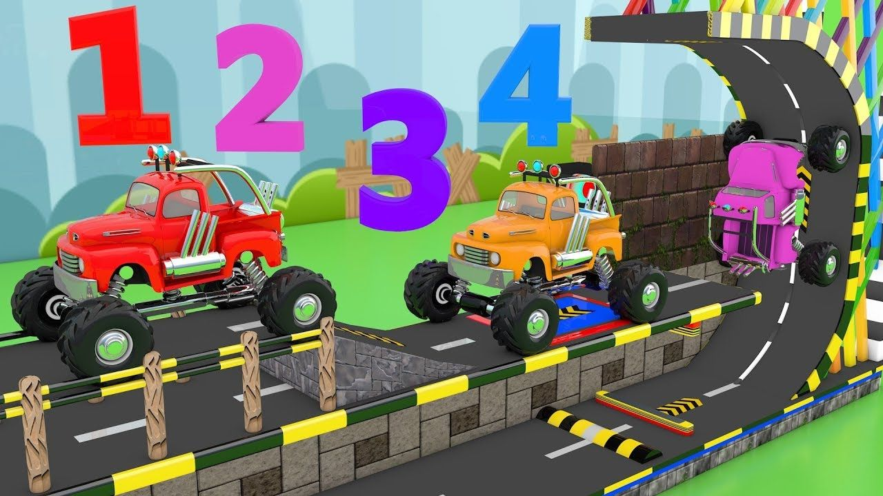 Learn Numbers for Children with 3D Monster Truck Game Kids Toddler Learn.