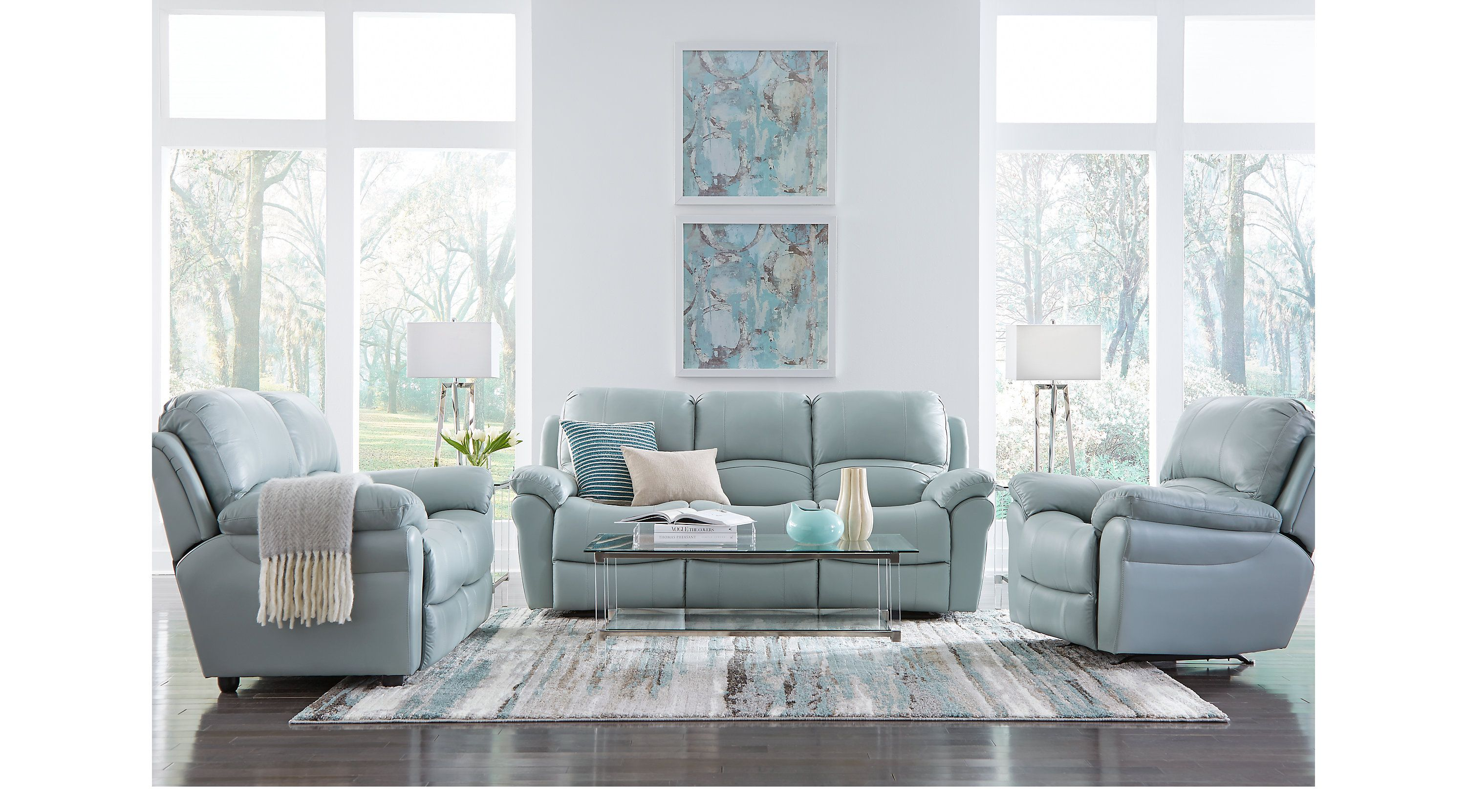 Best Vercelli Aqua Leather 3 Pc Living Room With Reclining Sofa 400 x 300