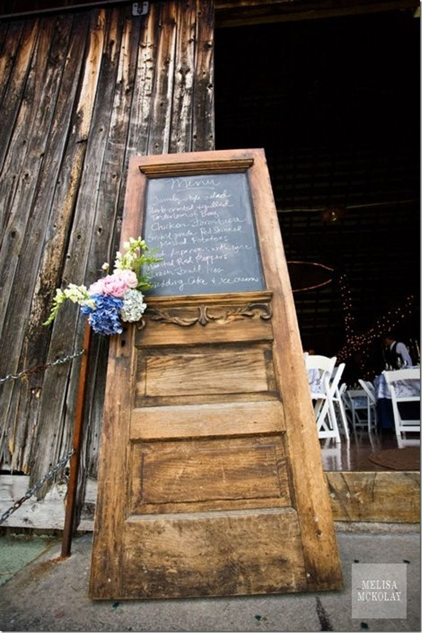 Menu on chalkboard put in old door frame. Could also be used for ...