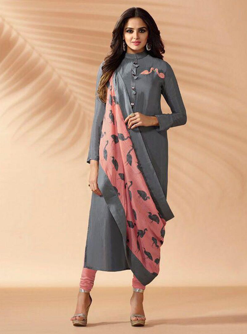 4122b6c771 Gray Silk Readymade Churidar Salwar Suit 115537 | Readymade Suit ...