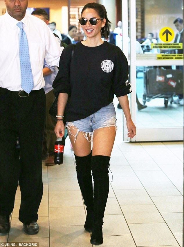 Olivia Munn Returns To Lax After San Diego Comic Con Appearance Thigh High Boots Outfit High Knee Boots Outfit Thigh High Boots Outfit Summer