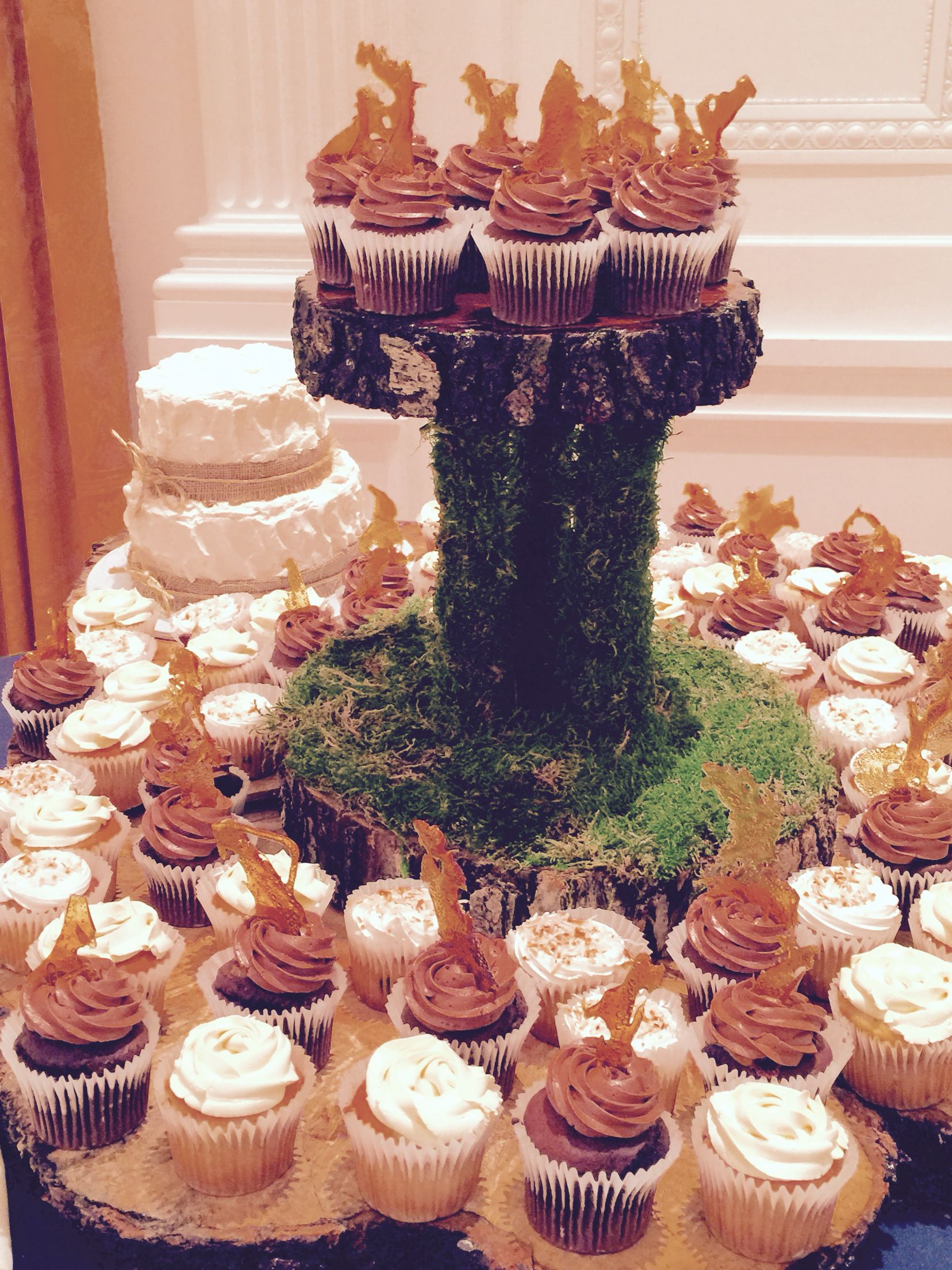 Rustic Handmade Wedding Cake and Cupcake Stand For rent or sale