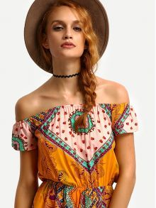 Blusa hombro al aire asimétrico -negro-Spanish SheIn(Sheinside)