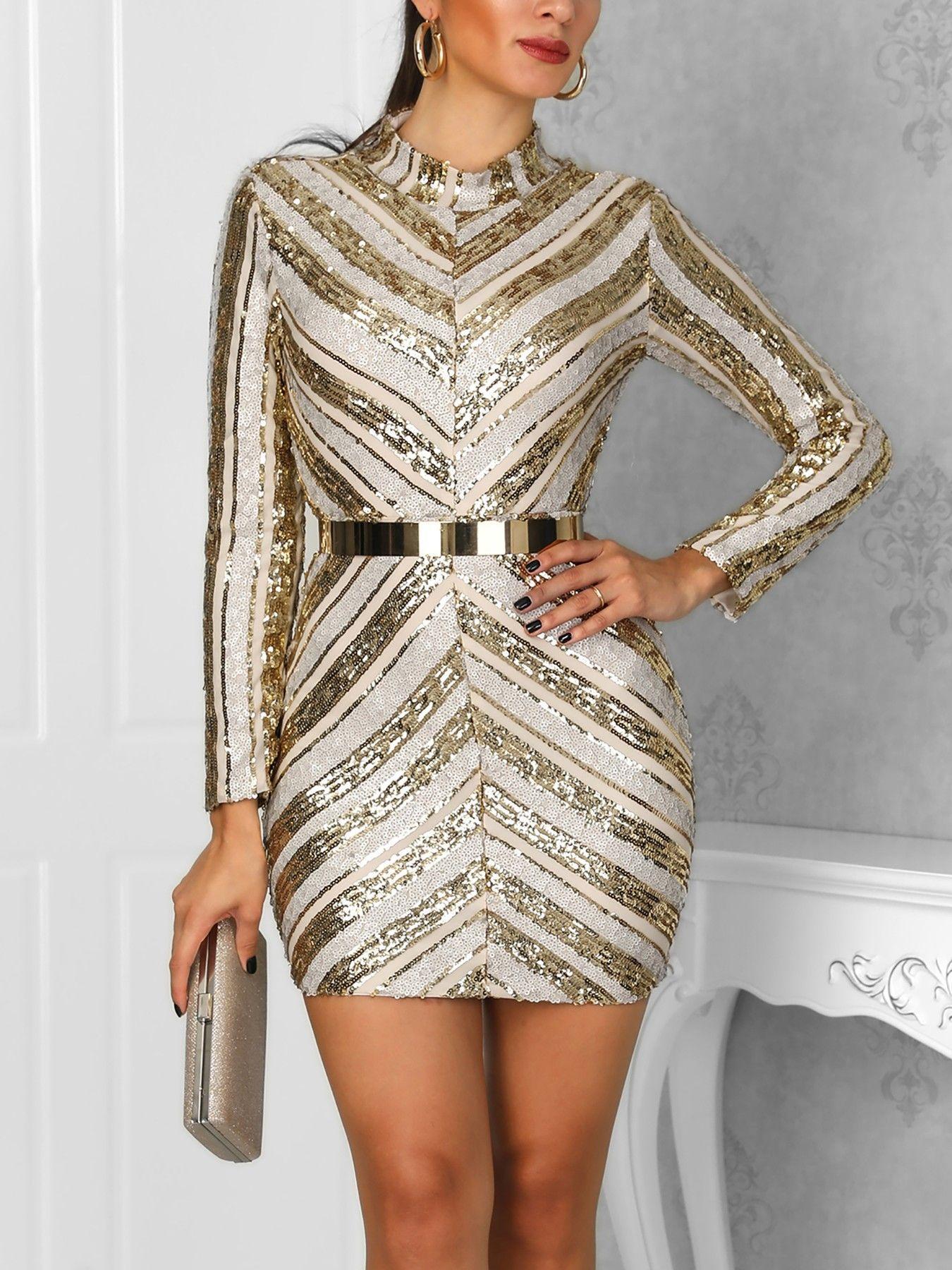Mini party sequin dress chevron bodycon stripes