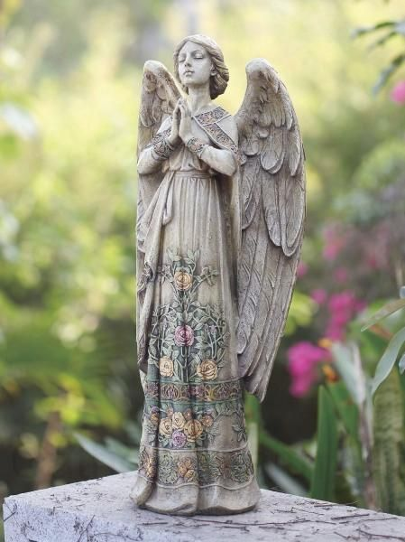 Praying Angel Garden Statue with Floral Accents 24″