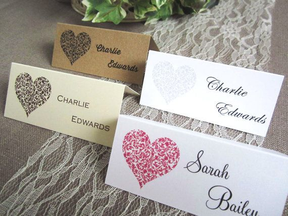 10 X Vintage Heart Wedding Place Name Cards Table Guest Shabby Chic Personalised
