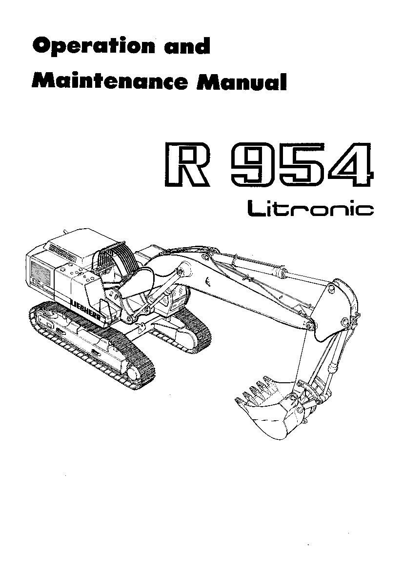 Liebherr R954 1001 Operation and Maintenance Manual PDF