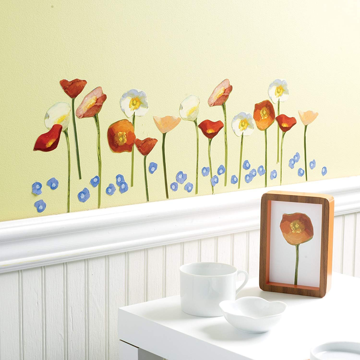 Amazon Com Wallies Wall Decals Springtime Poppies Wall Stickers Set Of 22 Home Kitchen Vinyl Wall Decals Wall Decals Wall Stickers