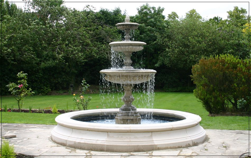 Medium Three Tier Vermeer Garden Fountain fountains water